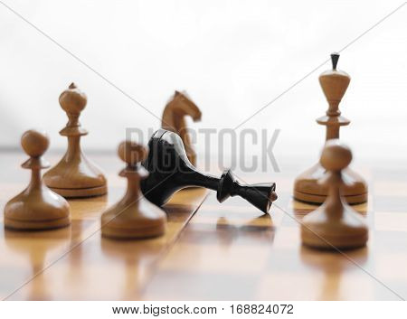 Chess game. Chess king is checkmated, chess game over