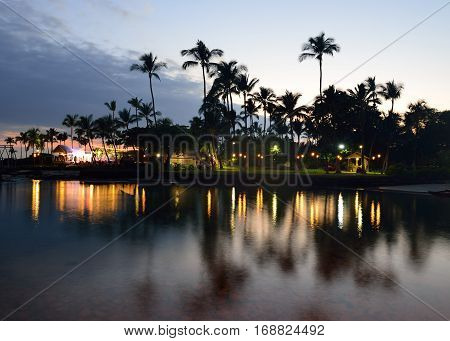 Beach Party Luau In Hawaii After Sunset