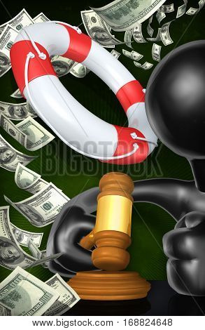Life Preserver Legal Gavel Concept With The Original 3D Character Illustration