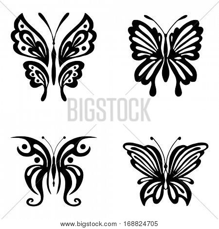 Set of black butterflies silhouettes isolated on white background. Vector illustration can be used for tattoo, logo, web, print design, logotype and branding.
