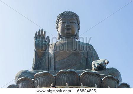 The Enormous Tian Tan Big Giant Buddha  In Hong Kong