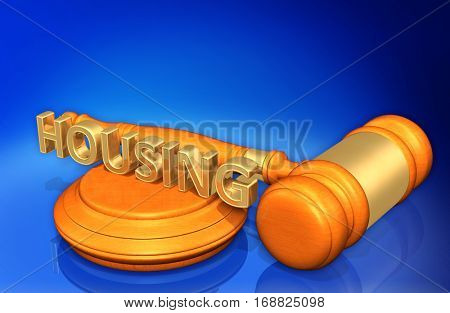Housing Legal Gavel Concept 3D Illustration