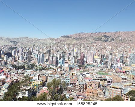 View of the city of La Paz in Bolivia