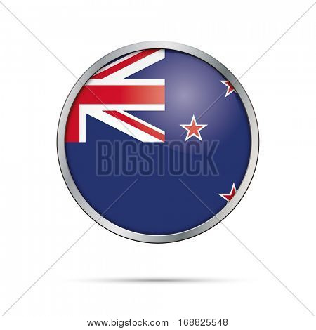 Vector New-Zealandish flag button. New Zealand flag glass button style with metal frame.