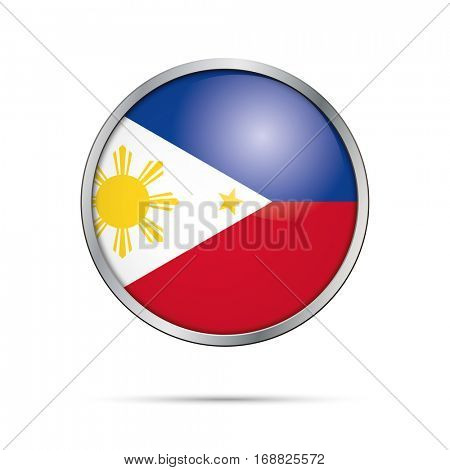 Vector Philippine flag button. Philippines flag glass button style with metal frame.