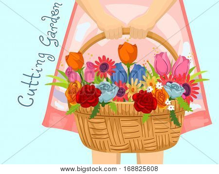 Illustration Featuring a Little Girl Carrying a Basket Full of Freshly Harvested Flowers from a Cutting Garden