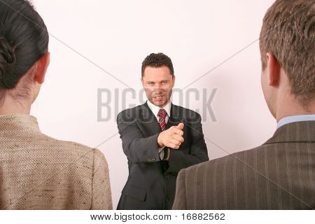 handsome business man pointing at man
