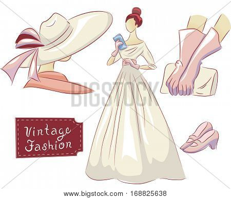Vintage Themed Illustration Featuring a Dress, a Hat, a Pair of Shoes, and Evening Gloves