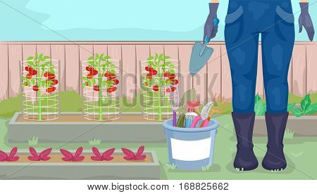 Illustration Featuring a Female Gardener Standing Beside a Plot of Plants and a Bucket of Gardening Tools