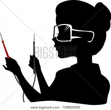Illustration Featuring the Outline of a Young Woman Wearing Protective Goggles Holding a Pair of Current Testers