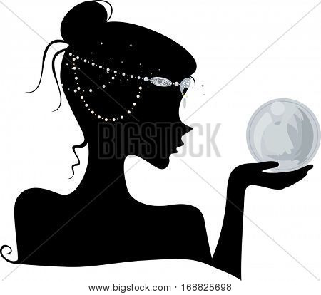 Illustration Featuring the Outline of a Young Wiccan Woman Wearing Head Beads Holding a Crystal Ball