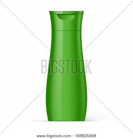 Green Plastic Bottle Shampoo Packaging Isolated over White Background