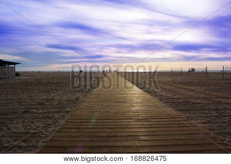 wooden Boardwalk on the beach. Beach Boardwalk. Santa Monica Beach Los Angeles California USA
