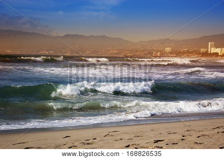 Stormy ocean waves. beautiful seascape. big powerful tide in action.storm weather in a deep blue sea forces of nature natural disaster.