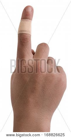 Adhesive bandage on the finger of a teenager.