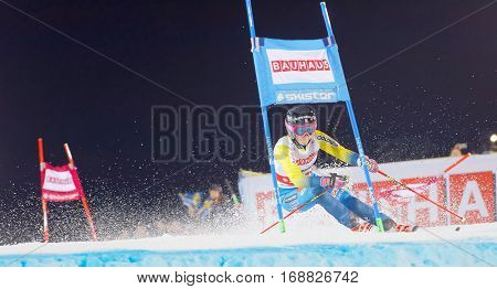 STOCKHOLM SWEDEN - JAN 31 2017: Frida Hansdotter (SWE) in the parallel slalom downhill skiing at the Alpine Audi FIS Ski World Cup - city event January 31 2017 Stockholm Sweden