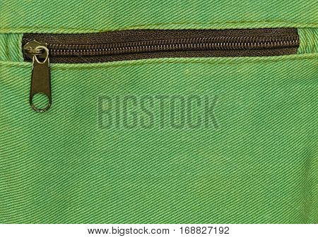 Fabric Texture Close Up of Metal Zipper on Green Canvas Bag Pattern Background.