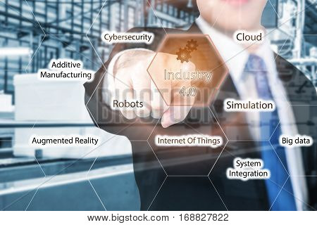 Businessman touching industry 4.0 in virtual interface screen use for 4.0 industry concept of smart factory.