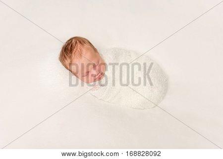funny swaddled in white costume newborn baby sleeping on blanket