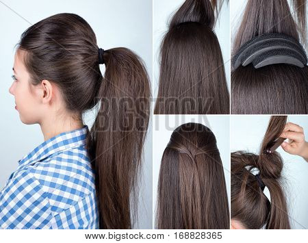 volume hairstyle ponytail with bouffant tutorial. Hairstyle for long hair tutorial. Simple hairstyle with hair bump tool