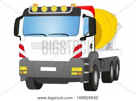 Cement Mixer with white cabin and yellow Mixer