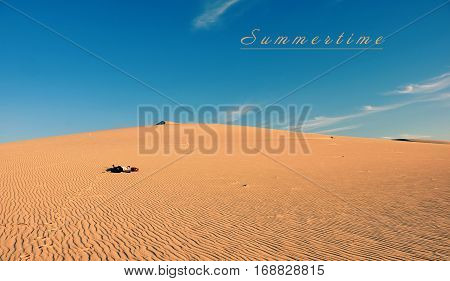 Summertime Vacation Trip, Woman Relaxing On Sand Hill