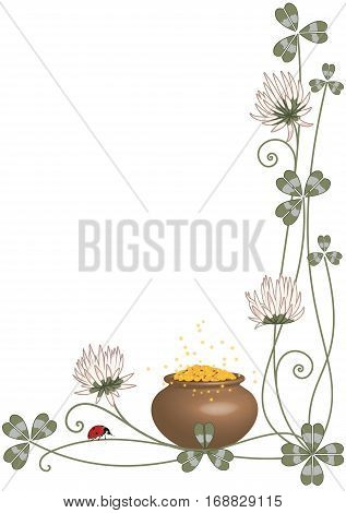 Vector background with clover pot and ladybird for corner design