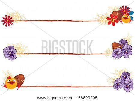 vector set of Easter dividers with funny chicken and flowers (EPS 10)