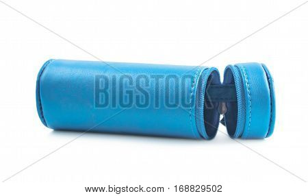 Cylindrical pencil case with the zipper lock isolated over the white background