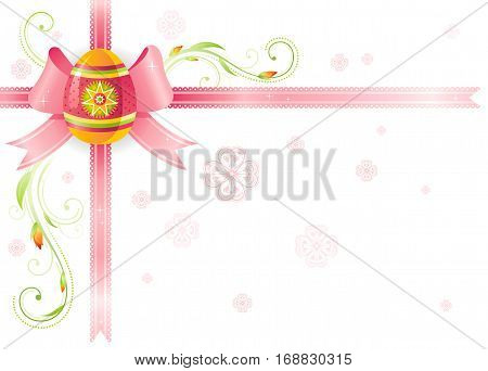 Happy Easter Spring vector border isolated on white background, color egg hunting party invitation. Holiday poster, pattern, red ribbon. Flower corner. Abstract illustration template frame banner