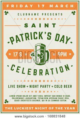 Saint Patricks Day Retro Typographic Party Poster Background. Vintage Vector Illustration.