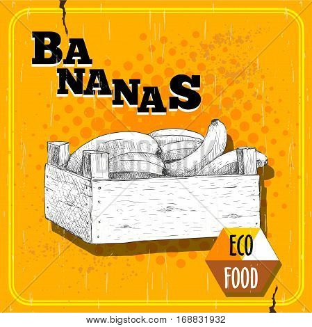Hand drawn illustration of fresh ripe bananas in a wooden crate. Sketch style vector poster of banana fruits.