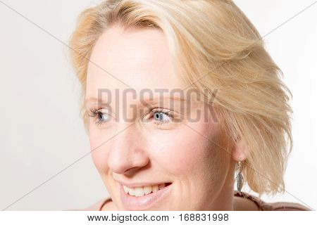 Closeup Of Blonde Lady Looking Away