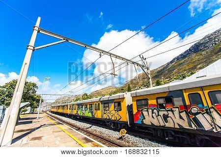 Graffiti sprayed train at the station of St.James South Africa