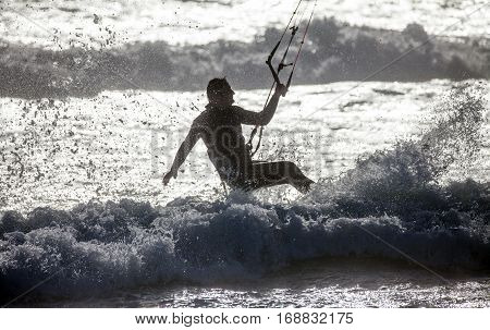 Kitesurfer at Bloubergstrand near Cape Town South Africa