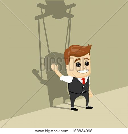 Vector businessman as a puppet. Business man marionette on ropes controlled.