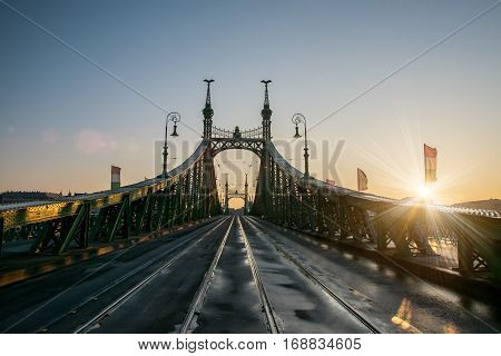 Scenic view of Szabadsag hid - Liberty bridge - at Budapest Hungary at sunrise