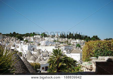 Alberobello town panoramic view Apulia Southern Italy