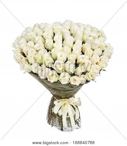 Flower bouquet of 100 white roses isolated on white background.