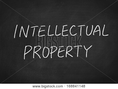 intellectual property concept word text on blackboard background