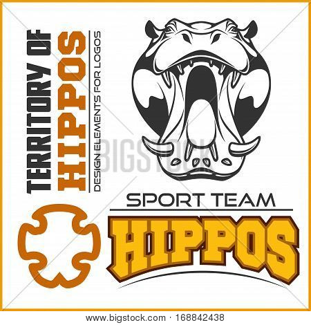 Hippo head - sport team. Mascot vector illustration isolated on white. Ready to cut