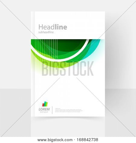 Vector cover template for catalog, annual report, brochure. Abstract clean geometric design in green and blue. EPS 10. A4