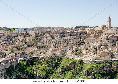 Panoramic view of sassi Matera Unesco heritage and European capital of culture 2019 Basilicata Italy