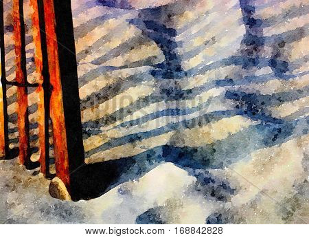 Nice Watercolor painting Of a Fence at the Ocean