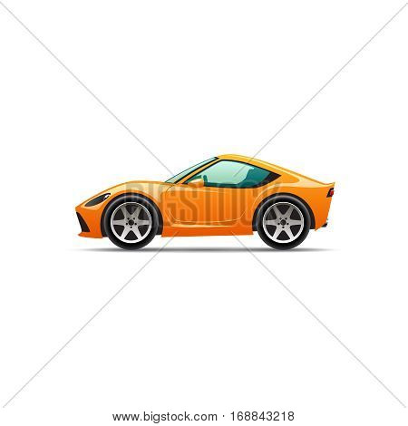 Cartoon orange sport car. Vector illustration eps 10
