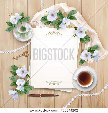 Vector white flowers, blank paper sheet, cup of tea, pen, silk scarf on wooden planked background. Top View composition. Perfect for wedding, greeting or invitation design