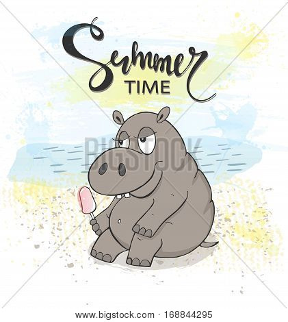 Cute Hippo with ice cream on the beach. Summer time