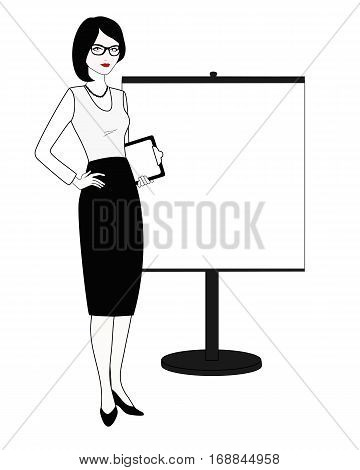 Specialist in public relations is standing next to the stand. Coach, teacher, professional employee, stand attendant, businesswoman, etc. Isolated on white. Linear, flat vector. White-black variation.