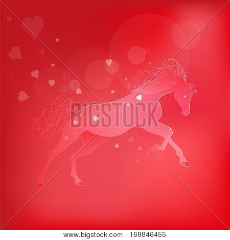 Brightly glowing vector illustration of a galloping horse. Juicy red pink background. love symbol