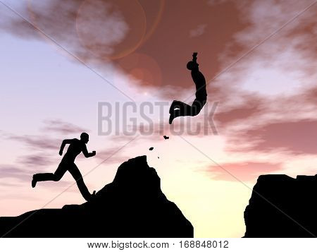 Concept conceptual young 3D illustration man or businessman silhouette jump happy from cliff over  gap sunset or sunrise sky background for freedom, nature, mountain, success, free, joy, health risk